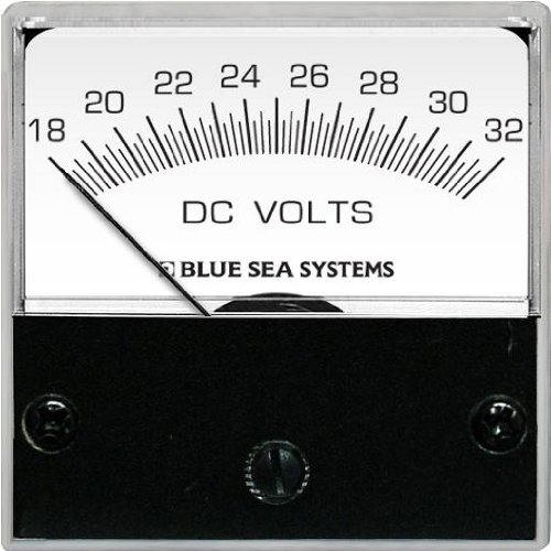 Blue Sea Systems 8243 DC Analog Micro Voltmeter (2-Inch Face, 18-32 Volts - Analog Blue Dc Sea