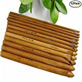 Hofumix 15cm Crochet Hooks Carbonized Bamboo Crocheting Knitting Needles 12pcs of 1 set