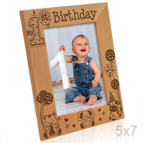 Kate Posh - My First (1st) Birthday Picture Frame - Engraved Natural Wood Photo Frame - First Birthday Gifts, First Birthday Boy, First Birthday Girl, First Birthday Decorations ()
