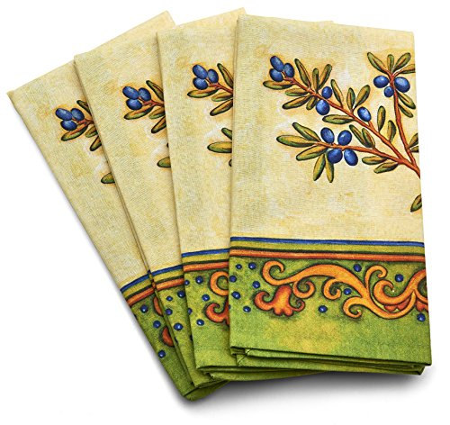 Luxury Napkin Set  4   Mediterranean  Tuscan Olive  Italian Design  Blue  Green  Yellow  Home Decor  100  Cotton  Compliment Your Fine Dining Experience  Designed And Manufactured Exclusively For Tsc Giftables 20  X 20