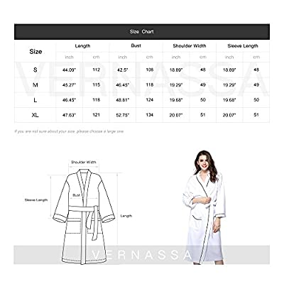 VERNASSA Cotton Bathrobes Soft Kimono Long Sleeve Bath Robes Spa Robe Sleepwear pajamas