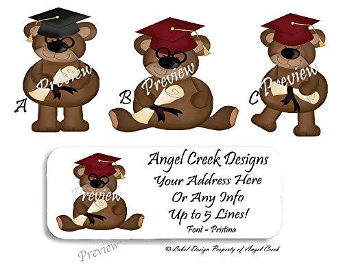 60 Personalized Return Address Labels - Cute Prim Graduation Bear Diploma