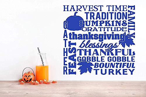 (Profit Decal Harvest Time Family Thanksgiving Blessings Tradition Gather Feast Gobble Gobble Turkey Gratitude Collage Saying Sayings Art Decorative Wall Decals Decor Vinyl Sticker Q5092 )