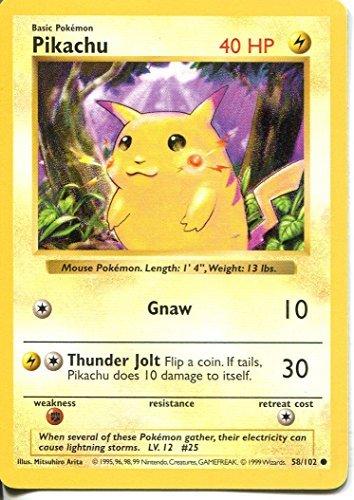 Pokemon Base Set Shadowless Common Card #58/102 Pikachu Red Cheeks