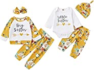 Gajaous Big/Little Sister Matching Outfits, Infant Toddler Baby Girls Romper/T-Shirt Tops+Floral Trousers+Head