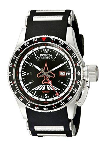 Invicta Men's 1753 Aviator Flight GMT Black Dial Black Polyurethane Watch