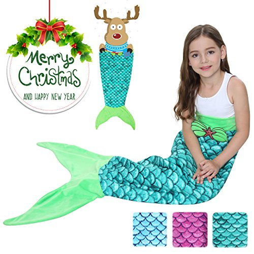 Camlinbo Mermaid Tail Blanket For Girls Flannel Soft Warm All Seasons Sleeping Bags Best Great Gift for Friends family Apply to Bedroom Sofa Beach Outdoor (green)
