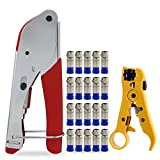 ESUMIC Coaxial Compression Crimper Coax Connector Tool Cable Stripper RG6 Fitting With 20x F Compression connectors