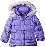 Jessica Simpson Little Girls' Toddler Heavyweight Belted Parka with Pleated Bottom, Amethyst, 4T