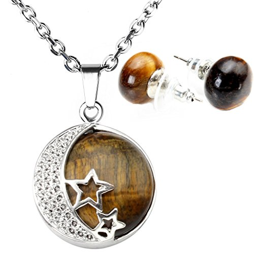 Silvery Star (Top Plaza Birthstone Semi-Precious Gemstone Abacus Beaded Studs Earrings Silvery Case Hollow Star&Moon Pendant Necklace Jewelry Sets(Tiger Eye))