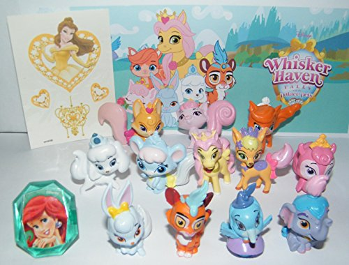 Disney Whisker Haven Tales with the Palace Pets Deluxe Figure Set of 14 Toy Kit with Figures, Tattoo Sheet, ToyRing featuring Dreamy, Sultan, Ms. Featherborn and More!