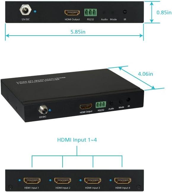 4 Input HDMI 1 Output HDMI w//Seamless Switcher Ul Support 1080P HDMI 1.3a Black 50//60Hz /& IR Remote 100-240V 61035 HDCP 1.2 XtremPro Quad Multi-Viewer 4x1 HDMI Switcher