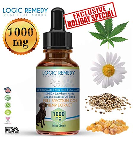 Essential Extracts - LOGIC REMEDY (1000mg) Organic Hemp Extract & Essential Oil Blend & Omega-3,6,9 Fatty Acids for Dogs & Cats/ Vegan/Peaceful Buddy Fights Stress, Separation Anxiety & Improves Hip Joint Health