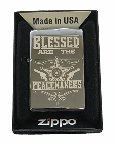 Zippo Custom Lighter - 'Blessed Are The Peacemakers Blue Line Police Support - High Polish Chrome