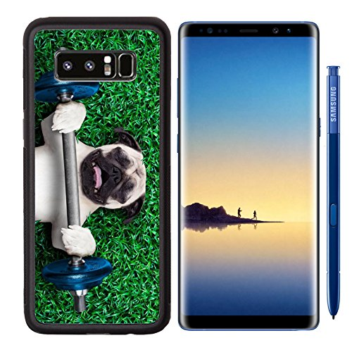 MSD Samsung Galaxy Note 8 Aluminum Backplate Bumper Snap Case pug dog as personal trainer lifting a very heavy dumbbell bar having trouble with it Im