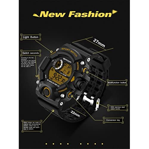 Wdnba Mens Watch Quartz Watches Military Watch Fashion Dive Men's Sport LED Digital Watch