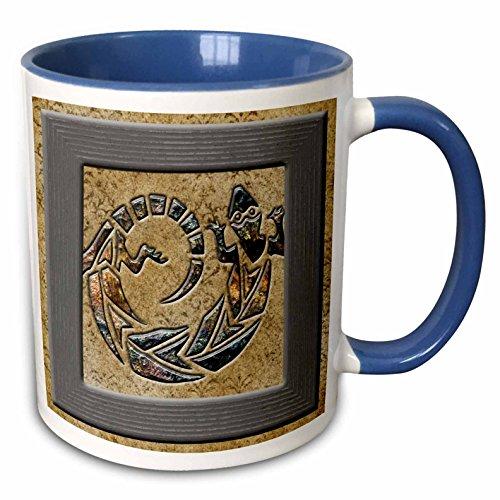 3dRose Spiritual Awakenings Native American - Native American art in brown tones with tribal lizard in brown marble print tones, designer original - 11oz Two-Tone Blue Mug (mug_150938_6)