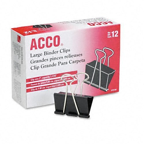 Acco 2 Inch Large Binder Clips 12 pack