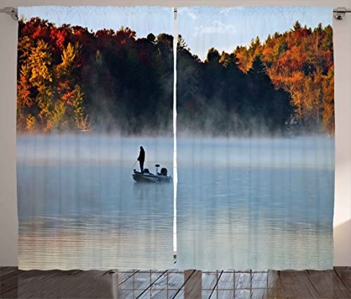 Ambesonne Landscape Curtains, Fisher Man in a Calm Lake Foggy Colorful Fall Autumn View Leaves Trees Artwork, Living Room Bedroom Window Drapes 2 Panel Set, 108 X 84 , Multicolor