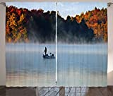 Ambesonne Landscape Curtains, Fisher Man in a Calm Lake Foggy Colorful Fall Autumn View Leaves Trees Artwork, Living Room Bedroom Window Drapes 2 Panel Set, 108W X 84L inches, Multicolor For Sale