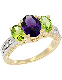 14K Yellow Gold Diamond Natural Amethyst Ring Oval 3-stone with Peridot, sizes 5 - 10
