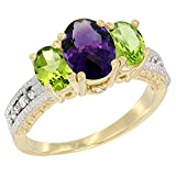 14K Yellow Gold Diamond Natural Amethyst Ring Oval 3-stone with Peridot, size 7