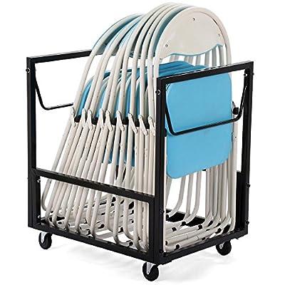go2buy Heavy Duty Black Furniture Folding Chair Cart Dolly with Wheels,110lb Capacity