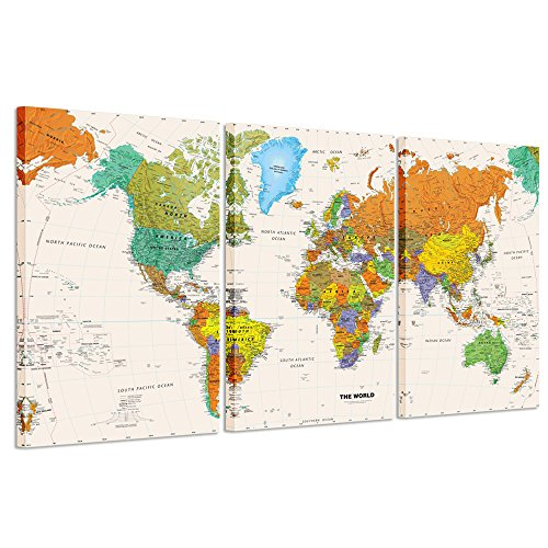 Creative Art - World MAP Canvas Art - Premium Canvas Art Print - Large Colorful Wall Art Deco - Canvas Picture Stretched on Wooden Frame As Modern Gallery Artwork (Large Map Of The World Canvas)