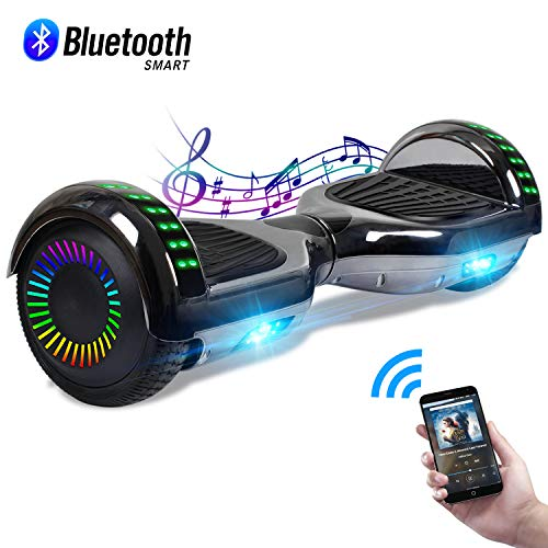 """CBD 6.5"""" Hoverboard with Bluetooth Speaker, Self Balancing Hoverboard for Kids with LED Lights, UL 2272 Certified, Chrome Black"""