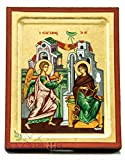 Annunciation Byzantine Wood Icon Handmade Christian Plaque