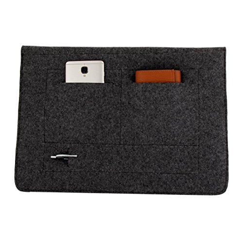Mojopanda Virgin Organic Wool Felt 13-13.5 Inch Macbooks, Laptop Grey Sleeve Case Carrying Bag With 2 Back Pouches For Mobile Phones And An Inner Packet For Tab, Ipad Or Power Chord. by MOJO PANDA (Image #3)'