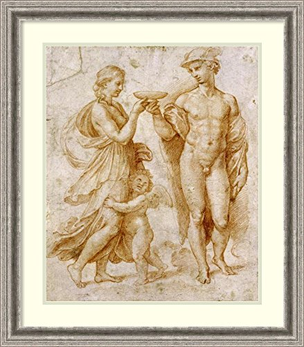 Framed Art Print 'Mercury Offering The Cup of Immortality To Psyche' by Sanzio Raphael
