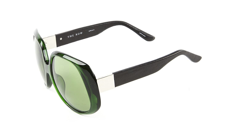 15e454cf5e92 Linda Farrow Women s Oversized Sunglasses 58mm Bottle Green Noir Leather at  Amazon Women s Clothing store