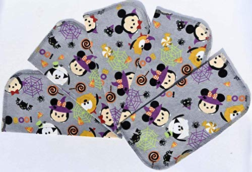 1 Ply Printed Washable 'Trick or Treat Mickey & Friends' Napkin Set-9x9 inches 5 Pack - Flannel Little Wipes -