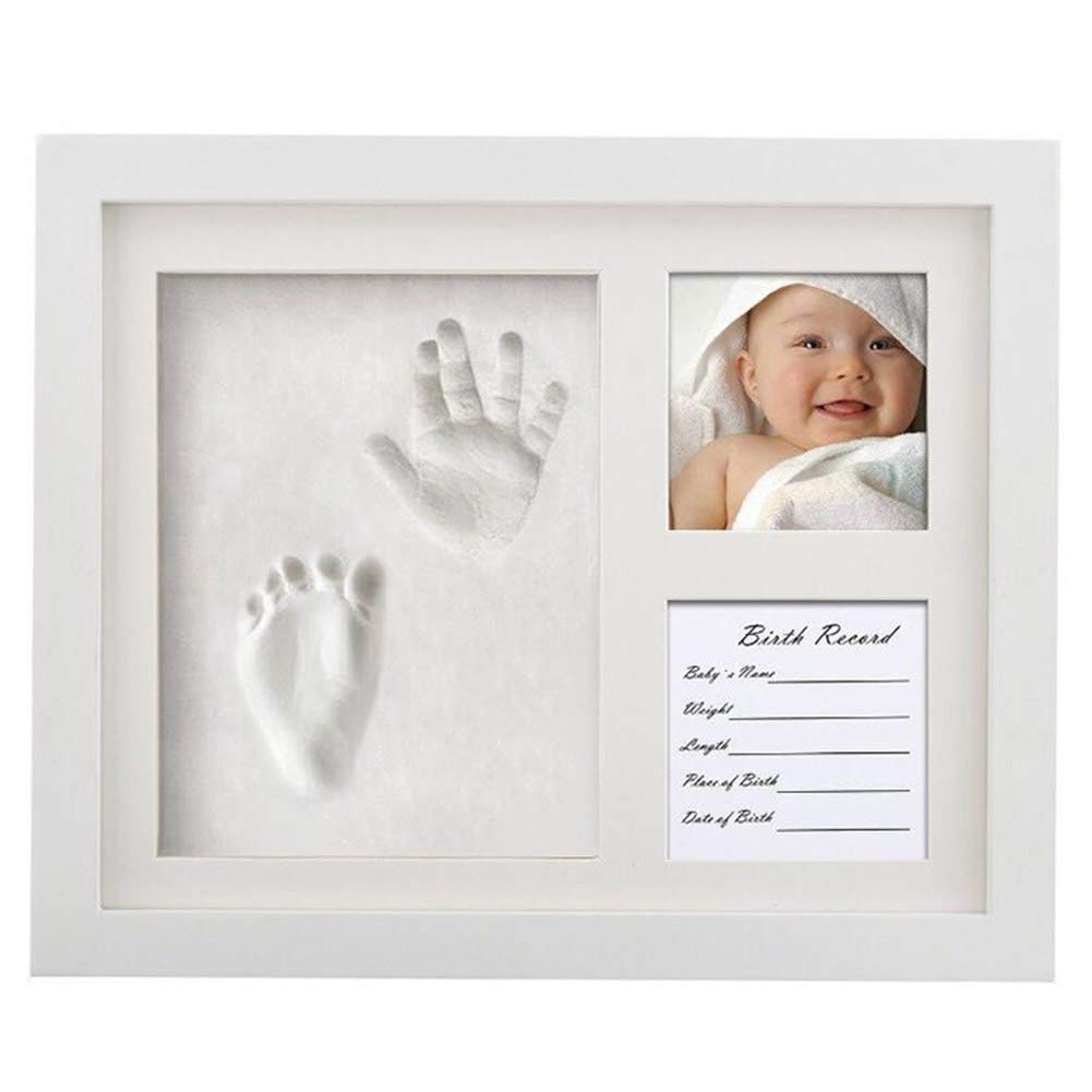 Baby Handprint Footprint Kit Photo Frame Newborn Baby Shower Gifts Infant Girls and Boys Casting Imprint Gifts Decorations for Home Bedroom Nursery Wall(White)