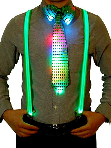 Costume Accessory Sets Include Light Up LED Y Back Suspenders, Pre-tied Bowtie and Necktie for Festival Party Supplies (Green)]()