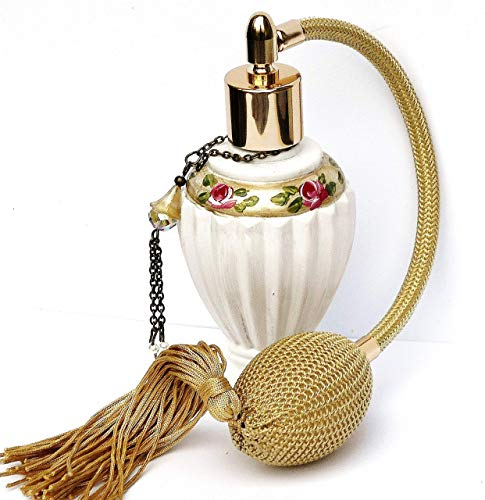 White and Gold Elegant Victorian Decor Vintage Style Spray Perfume Bottle Atomizer with Bulb Spray and Painted Pink Roses