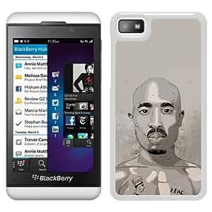 Fashionable Custom Designed Cover Case For Blackberry Z10 With Tupac Shakur 2 White Phone Case
