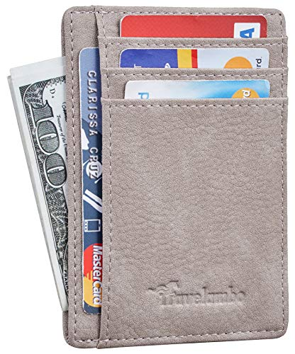 Travelambo Front Pocket Minimalist Leather Slim Wallet RFID Blocking Medium Size (Oldo Sandy Stone)