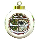 Please Come Home For Christmas Pekingese Dog Sitting In Window Round Ball Ornament D373