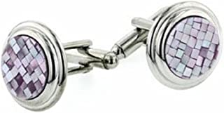 product image for JJ Weston Lavender Mosaic Mother of Pearl Cufflinks. Made in The USA.