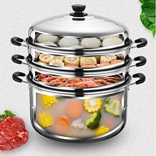 XXDTG Acier Inoxydable 3 Couche Thicken Vapeur Pot Vapeur Pot Chaudière Cuisinière Cuisson à la Vapeur Pot marmite à Soupe for Ustensiles de Cuisine Batterie de Cuisine
