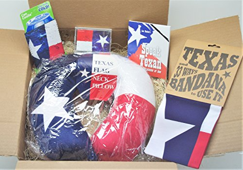 Box - Flag Neck Pillow, Texas Bandana, Coolie, Playing Cards and Speak Texsun in 30 Minutes Booklet Bundled! ()