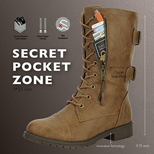 Combat Wallet DailyShoes Pocket Credit Knife Calf Money Mid Women's Tan Lace Boots Slim High Military up Card qqTU7E
