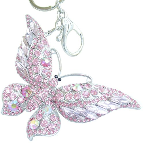 Favors Butterfly Crystal Keychain Pink - Sindary Pretty Butterfly Keychain Pendant Austrian Crystal K4538 (Silver-Tone Pink)