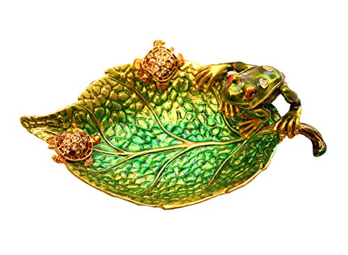 Luxury Czech Crystal Studded 2 Turtles & 1 Frog on Green Leaf Dish Jewelry Tray Holder in Alloy Material (Gold) (Candy Dish Frog)