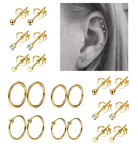 REVOLIA 10Pairs Stainless Steel Cartilage Earrings for Men Women Stud Earrings Ball CZ Tragus Helix Piercing G