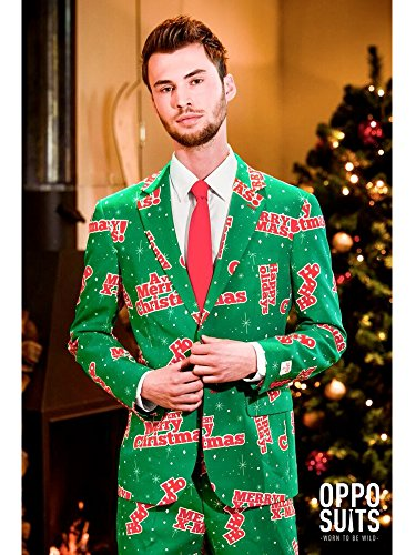 [OppoSuits Men's Happy Holidude-Party Costume Suit, Green/Mixed, 48] (Do It Yourself Costumes 2016)