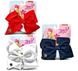 Warp Gadgets Bundle - Jojo Siwa 1 Red, 1 White and 1 Navy Basic Bow On Metal Salon Clip (3 Items)
