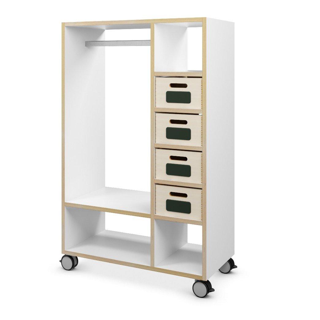 Mobile Garderobe aus Holz mit Ablage & Fächern